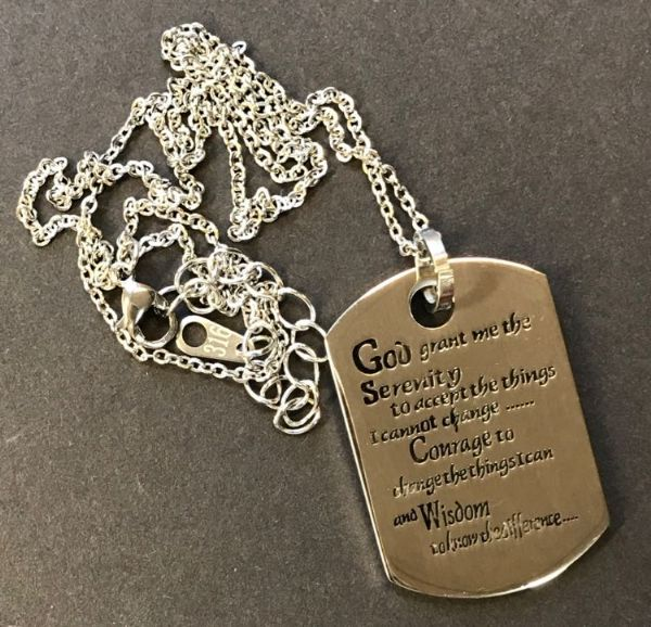 Dog Tag Serenity Prayer Pendant Necklace Silver